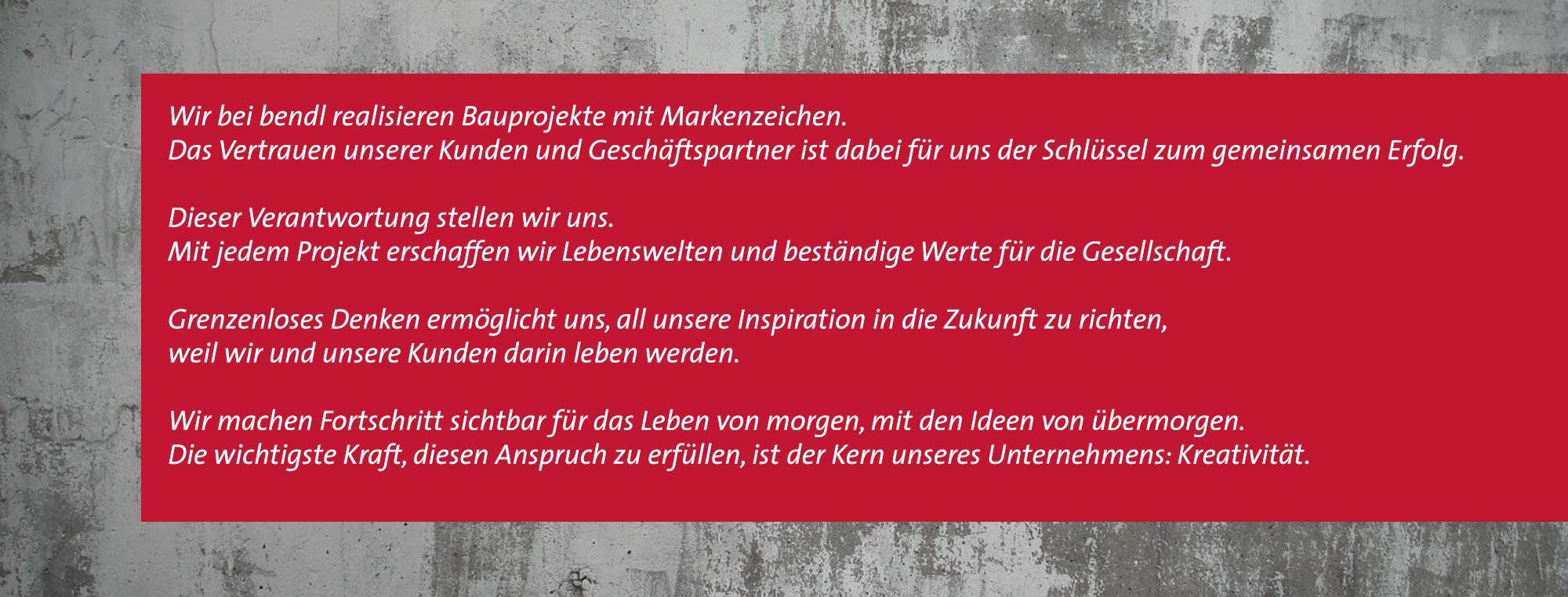 Philosophie Bauunternehmen bendl Günzburg