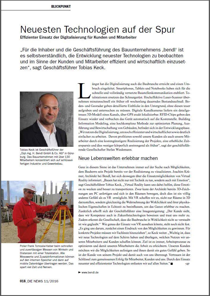 Die News Neuesten Technologien auf der Spur Bauunternehmen bendl November 2016