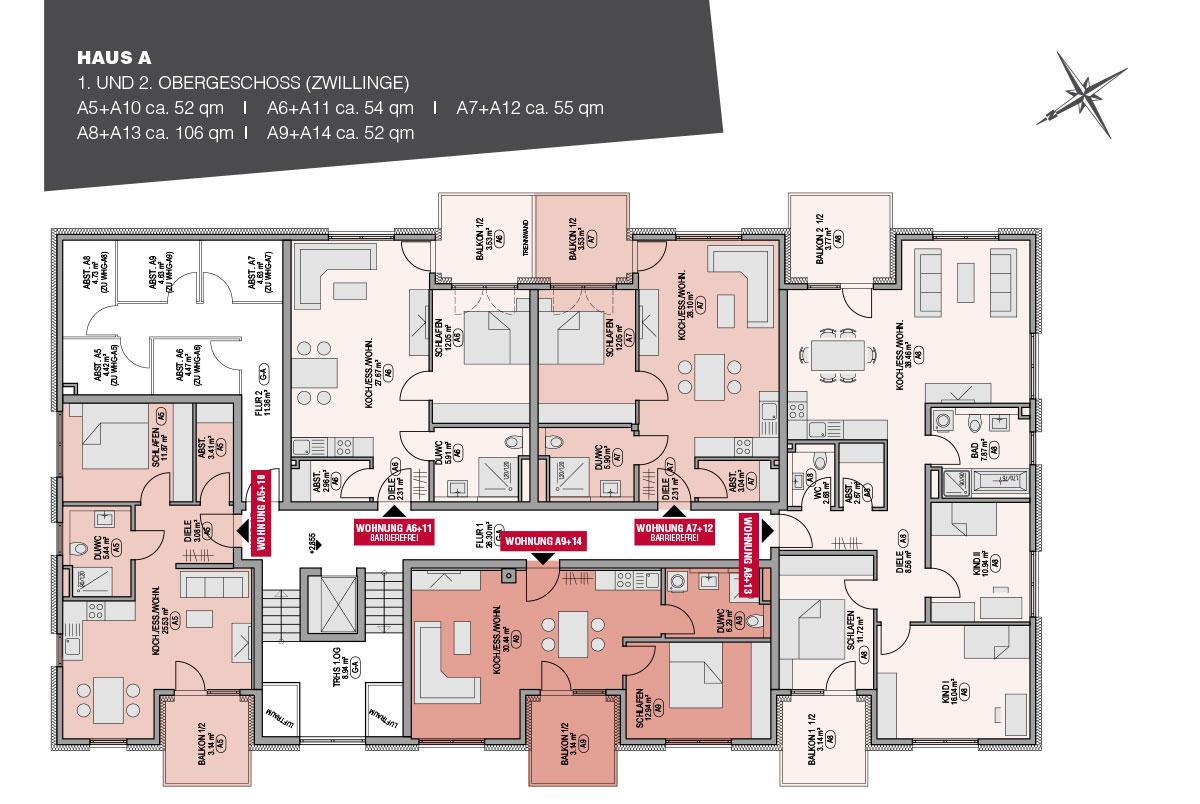 Das 1. und 2. Obergeschoss Haus A GunitaPark Günzburg