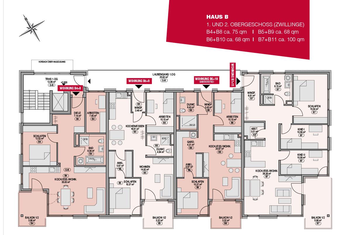 Das 1. und 2. Obergeschoss in Haus B im GuntiaPark in Günzburg