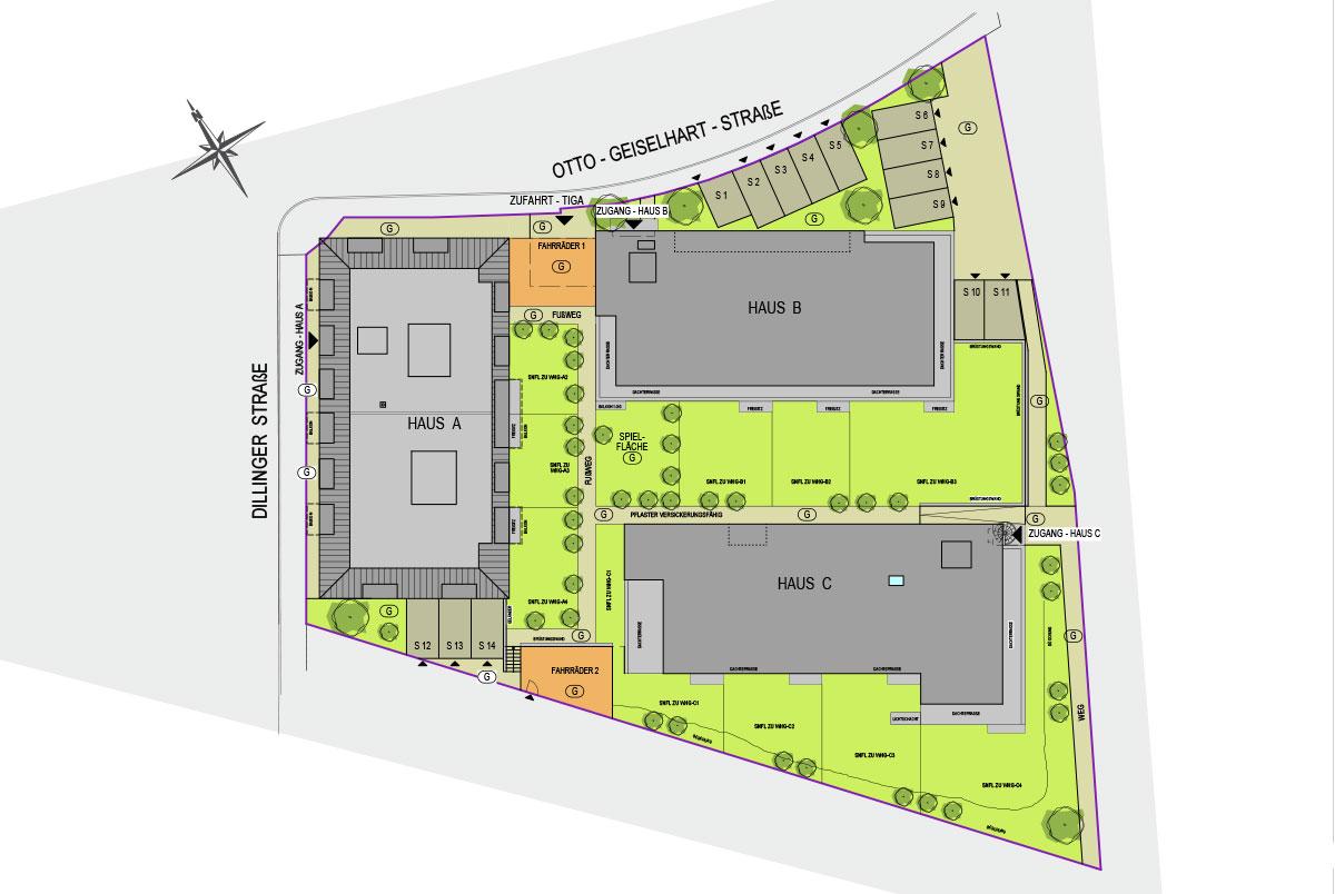 Lageplan GuntiaPark Dillinger Straße und Otto Geiselhart Straße Günzburg