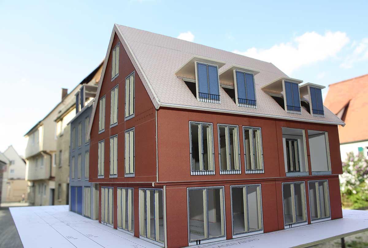 3D-Animation des Rosenhaus am Schloss Projektentwicklung Wohnhaus und Geschäftshaus
