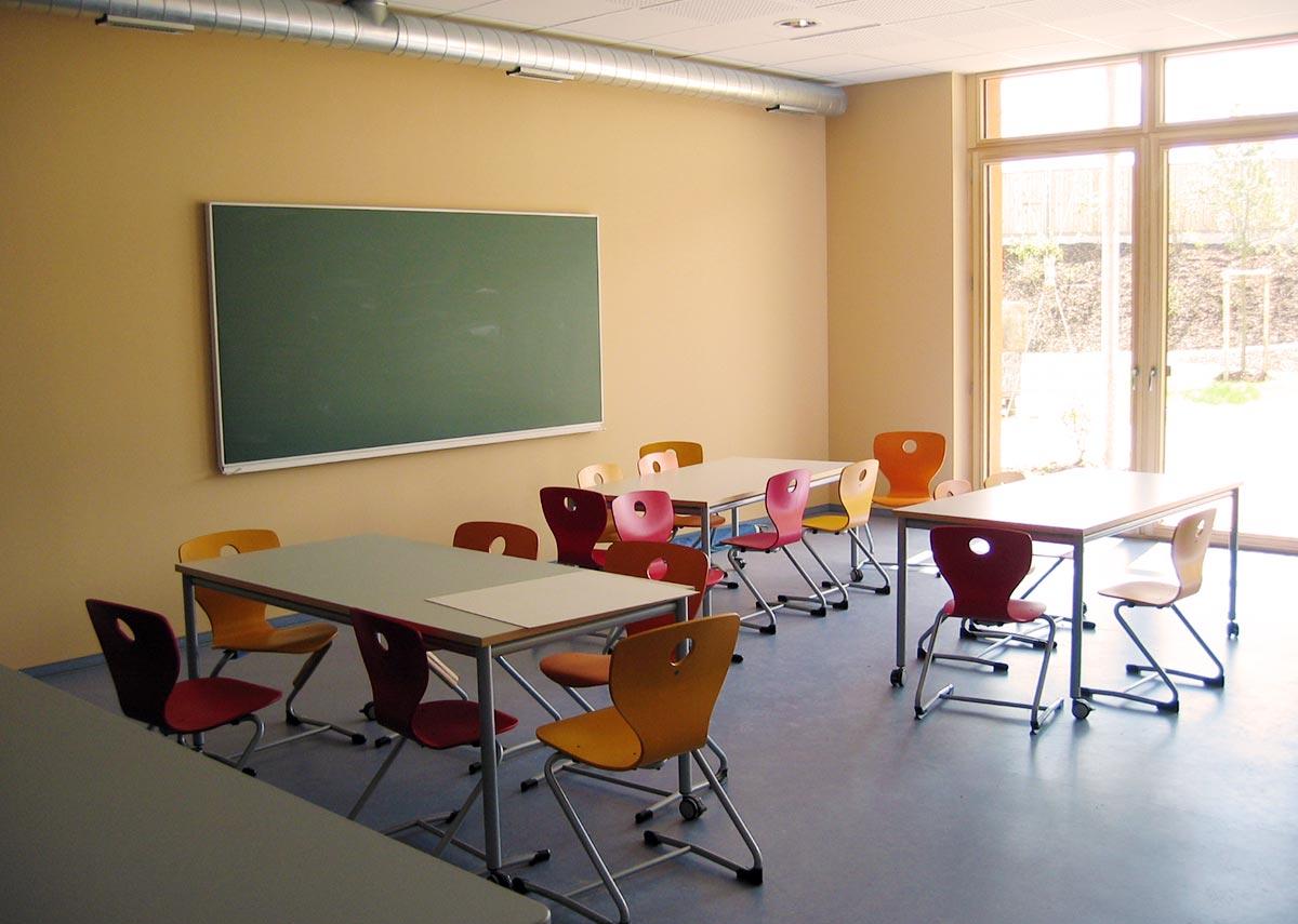 Ein lichtdurchflutetes Klassenzimmer in der Grundschule Süd-Ost in Passivbauweise
