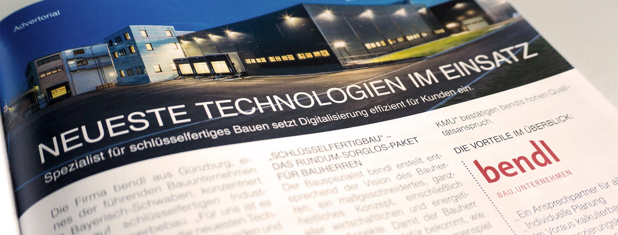 Bauunternehmen bendl Bericht Junge Wirtschaft Neueste Technologien im Einsatz