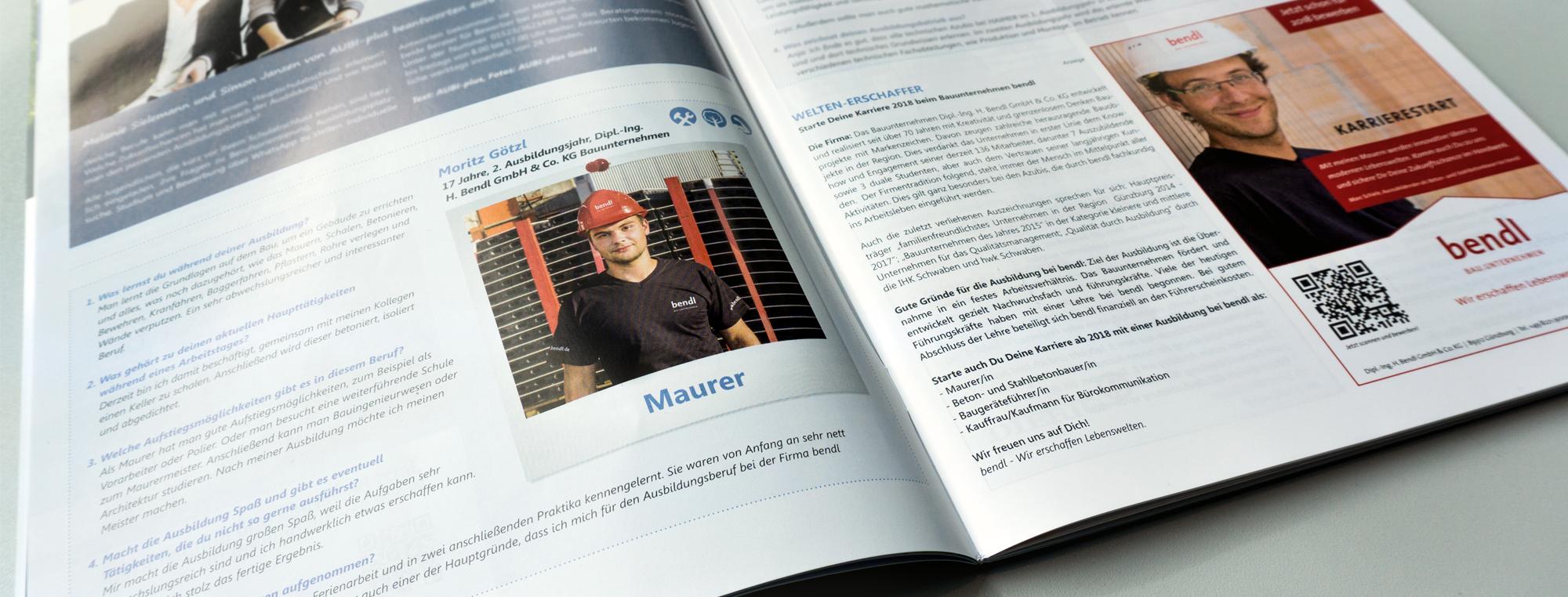 Azubi-Interview mit Maurer-Lehrling Morizt vom Bauunternehmen bendl in der neuen Ausgabe Durchstarter Herbst 2017