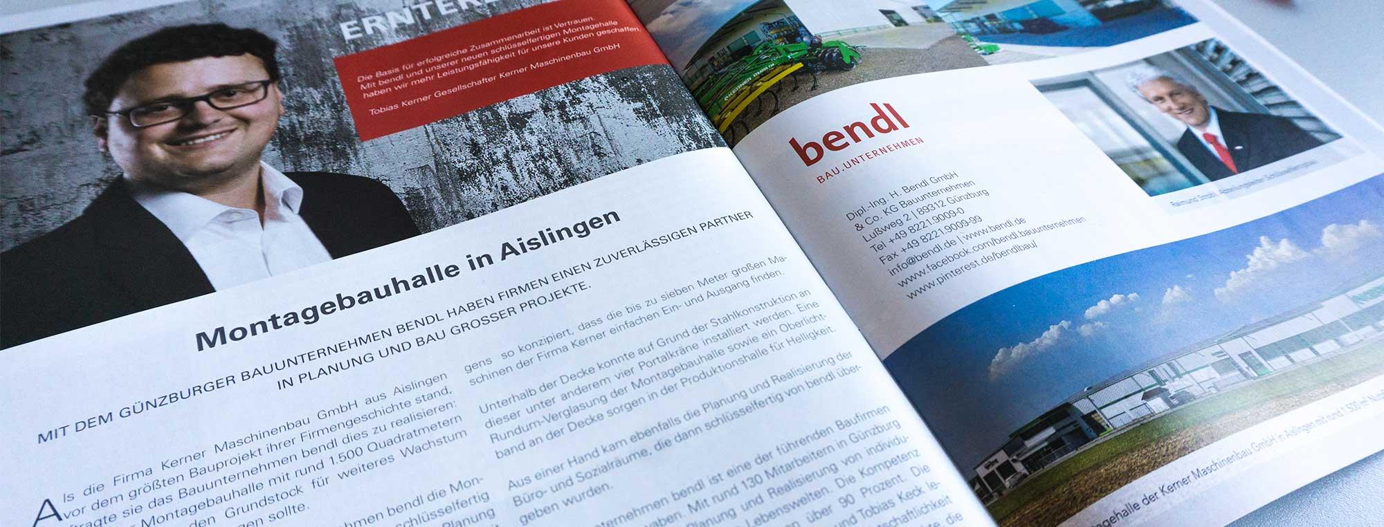 Bauunternehmen bendl ist zuverlässiger Partner in Planung und Bau großer Projekte - Montagehalle Kerner Maschinenbau GmbH