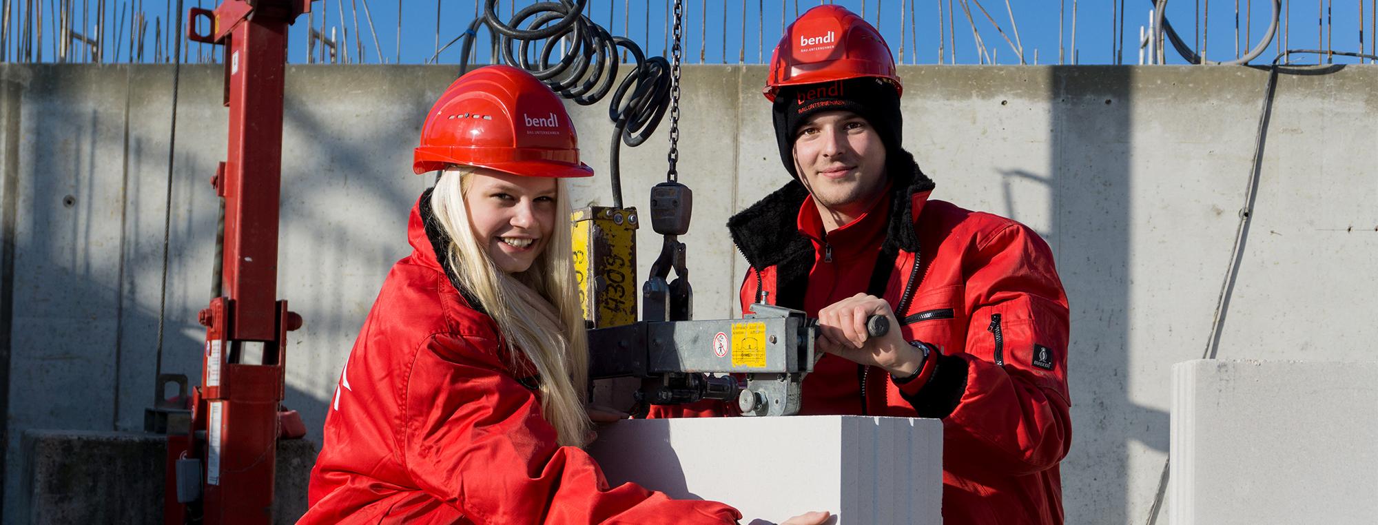 Die Rekordpraktikanten Charlotte und Marvin beim Bauunternehmen bendl in Günzburg