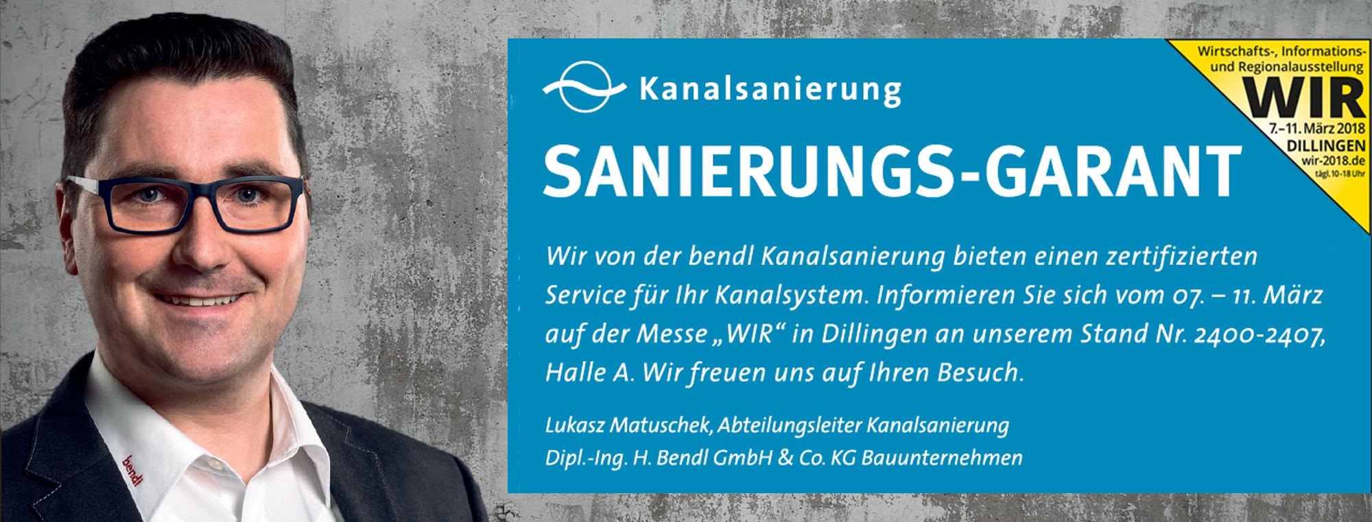 bendl Kanalsanierung auf der Verbrauchermesse WIR 2018 in Dillingen