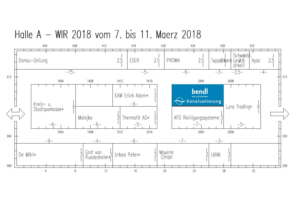 Halle A - bendl Kanalsanierung auf der Messe WIR 2018 in Dillingen