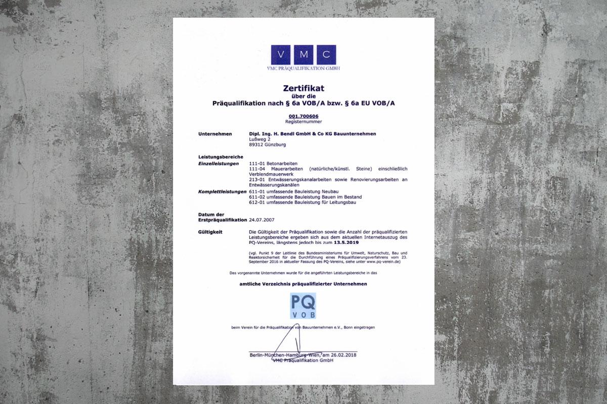 Präqulifikation Bauunternehmen bendl 001.700606 bis 2019
