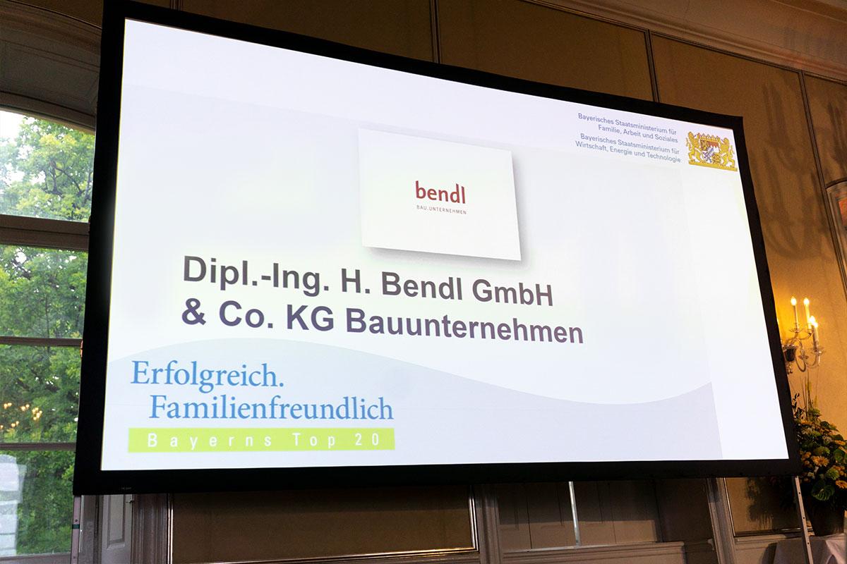 Bauunternehmen bendl familienfreundlicher Arbeitgeber in Bayern - Top 20 2018