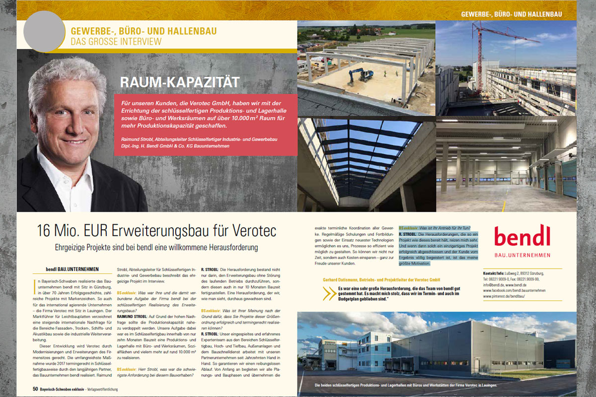Exklusivinterview 16 Mio. EUR Erweiterungsbau für Verotec