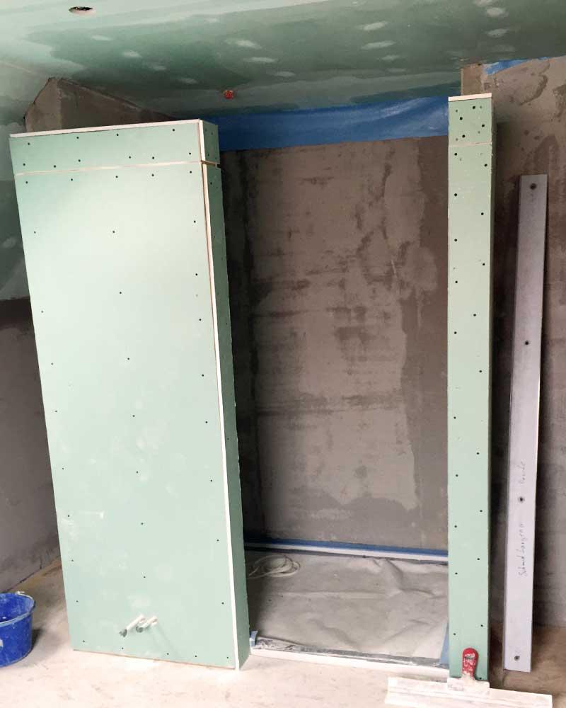 Trockenbauarbeiten für eine neue Duschkabine vom Bauunternehmen bendl