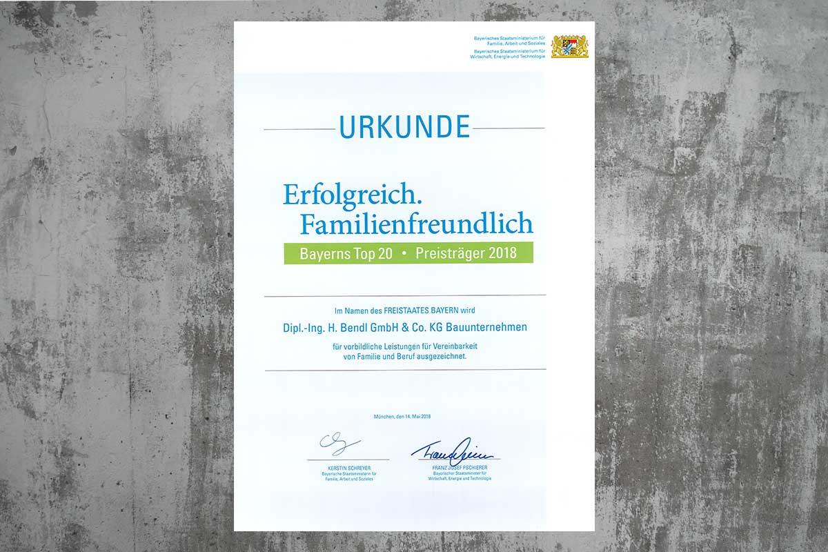 Bauunternehmen bendl - Auszeichnung als Bayerns Top 20 familienfreundlicher Arbeitgeber