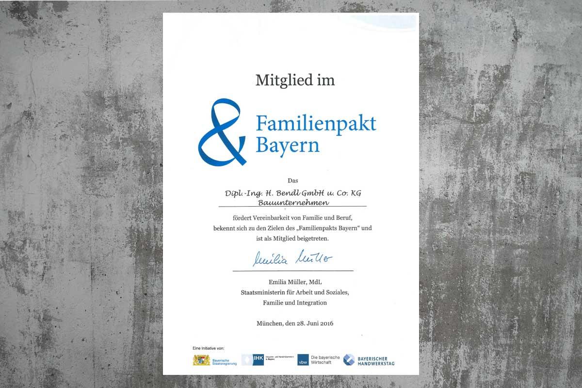 Bauunternehmen bendl - Mitglied im Familienpakt Bayern