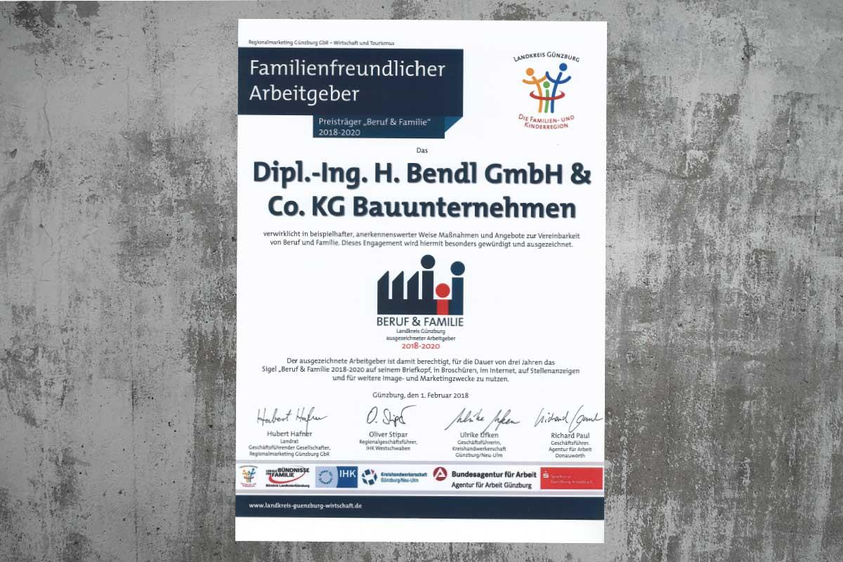 Bauunternehmen bendl - erneute Auszeichnung als familienfreundliches Unternehmen in der Region Günzburg