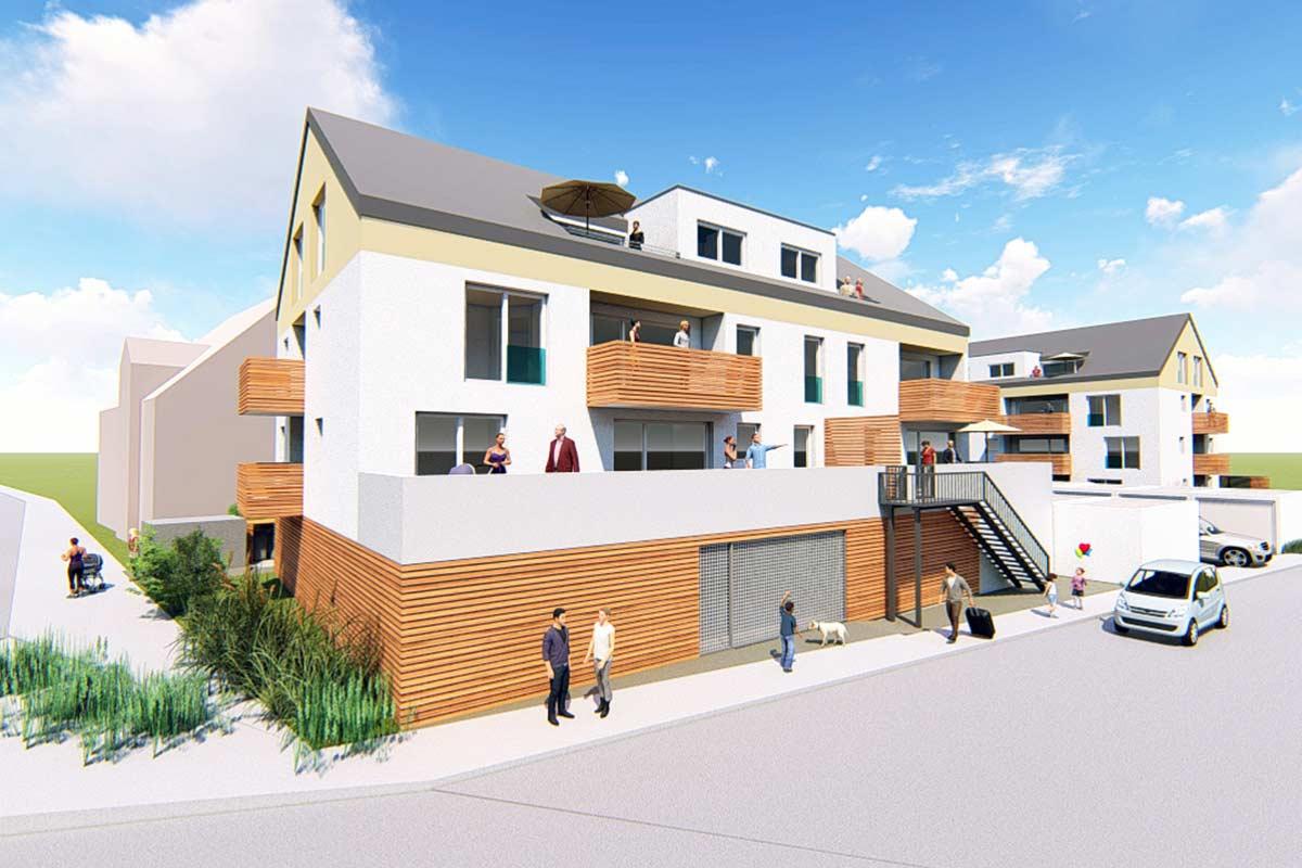 Barrierefreie Eigentumswohnungen mit Einzelgaragen und KFZ-Stellplätzen.