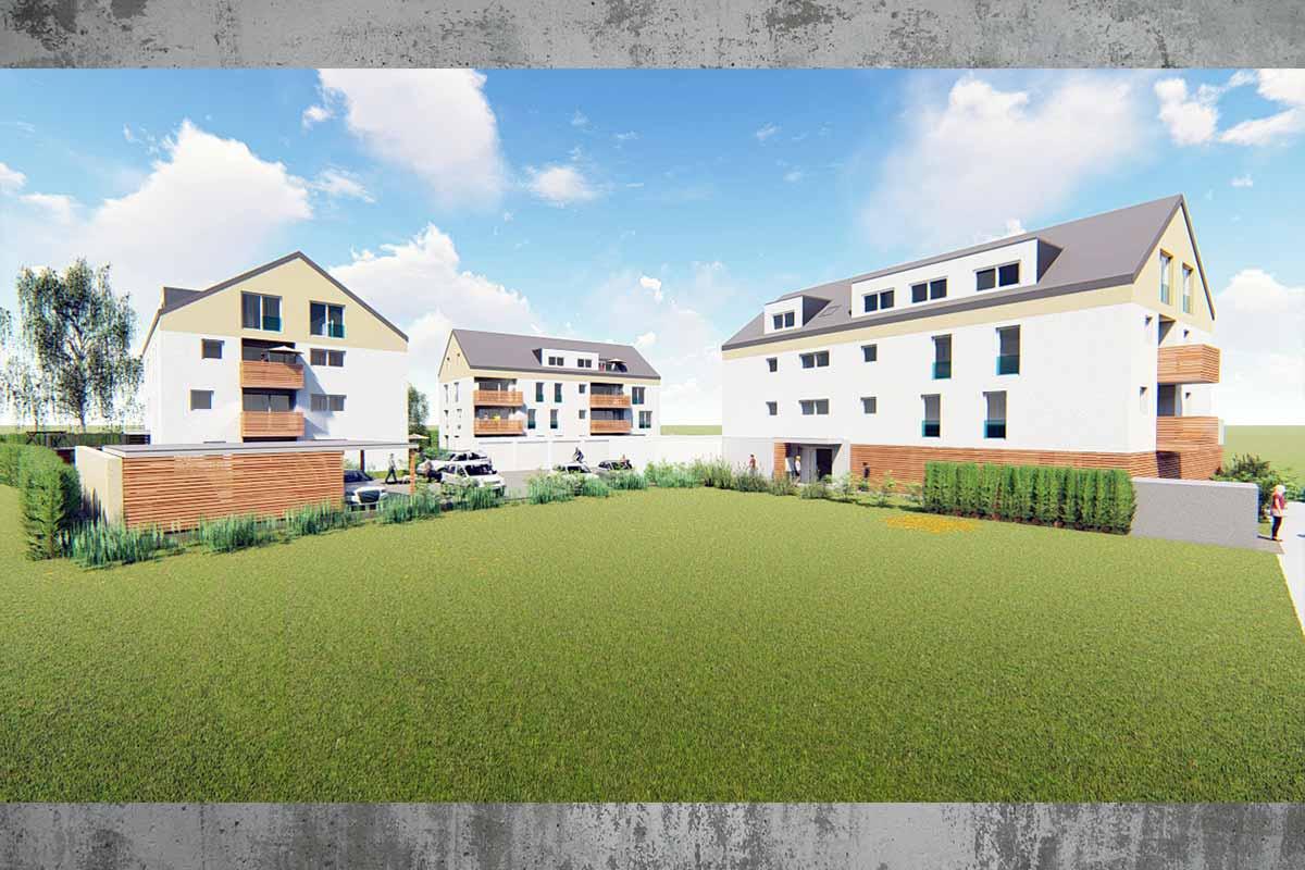 Die Wohnanlage Südherz besteht aus drei Mehrfamilienhäuser in Sontheim an der Brenz. Gebaut durch das Bauunternehmen bendl. Verkauf durch Anderka Immobilien.