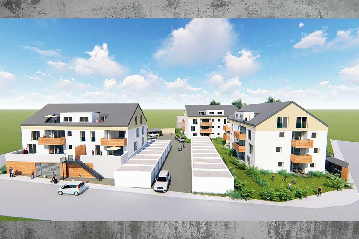 Die Wohnanlage Südherz in Sontheim mit großzügigen Wohnungen und sonnenverwöhnten Terrassen.