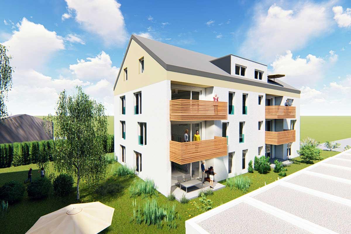 Die Wohnungen verfügen über eine hochwertige Sanitärausstattung, großzügige Terrassen und Balkone.