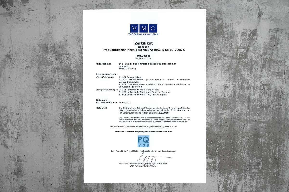 Präqualifikation 001.700606 bendl Bauunternehmen