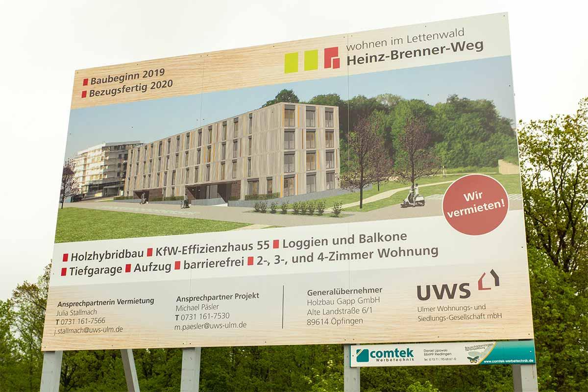 Spatenstich der UWS für das Mehrfamilienhaus in Ulm Böfingen.