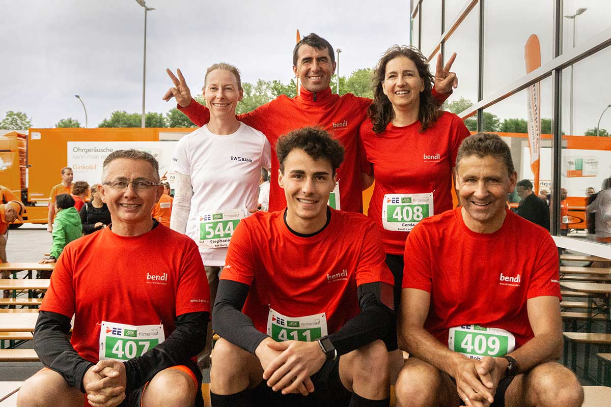 Unser bendl-Team kurz vor dem Start beim Firmenlauf 2019 in Neu-Ulm.
