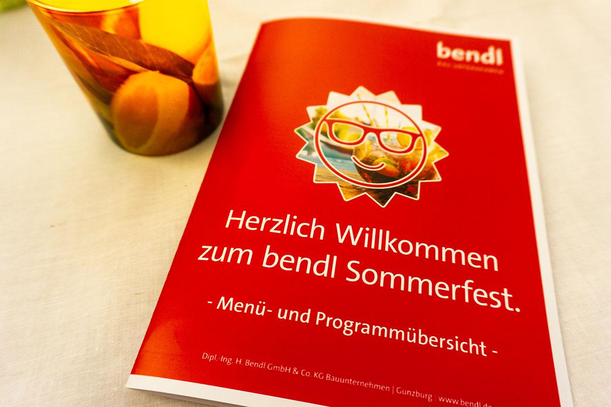 Menü- und Programmkarte auf dem bendl Sommerfest 2019