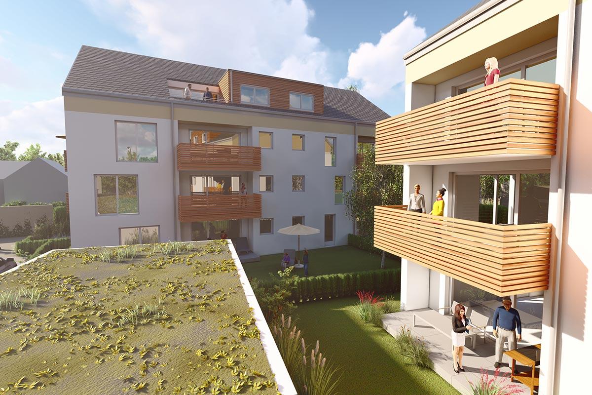 Einladende und lichtdurchflutete Eigentumswohnungen zum Verkauf beim Bauprojekt Südherz in Sontheim.