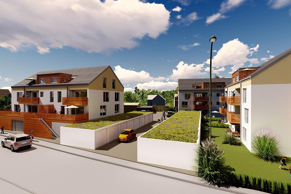 Beim Bauvorhaen Südherz in Sontheim warten auf Sie barrierefreie Eigentumswohnung mit Balkon, Terrasse, Garage und Stellplätze zum Kauf.