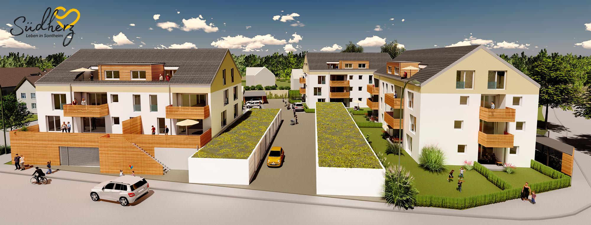 Neubau von drei Mehrfamilienhäusern mit Eigentumswohnungen in Sontheim - Bauprojekt Südherz Leben in Sontheim
