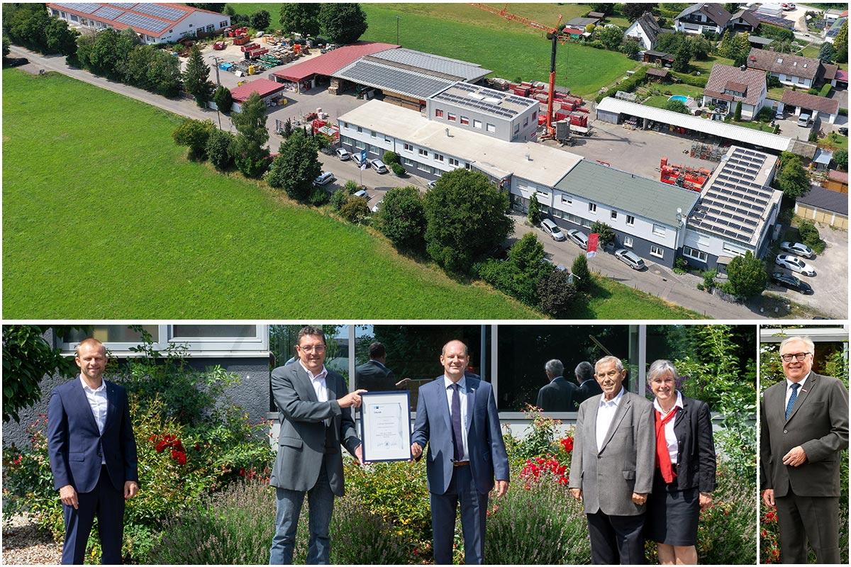 75 Jahre erfolgreiche Bautätigkeit. Feierliche Urkundenübergabe durch die IHK und HWK an das Bauunternehmen bendl anlässlich des 75 Firmenjubiläums.